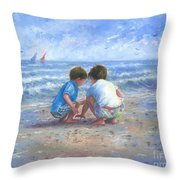 Finding Sea Shells Brother And Sister Throw Pillow