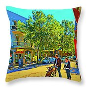 Fine Day For Baby Strollers And Bikes Art Of Montreal Street Scene Across Maitre Gourmet Cafe Throw Pillow
