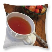 Fine Tea And Cherries Throw Pillow