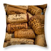 Fine Wine Corks Throw Pillow