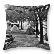 Finger Lakes Camping Throw Pillow