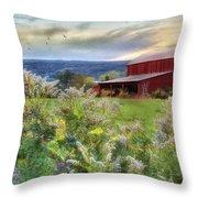 Finger Lakes Farm Throw Pillow