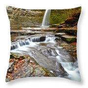 Finger Lakes Waterfall Throw Pillow
