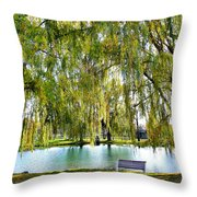 Finger Lakes Weeping Willows Throw Pillow