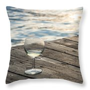 Finger Lakes Wine Tasting - Wine Glass On The Dock Throw Pillow