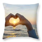 Fingers Heart Framing Ocean Sunset Throw Pillow