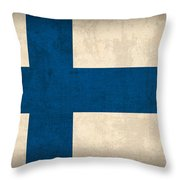 Finland Flag Vintage Distressed Finish Throw Pillow