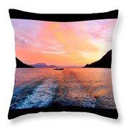 Fiord Sunset  Throw Pillow