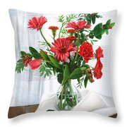 Fiori Rossi Throw Pillow