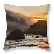 Fire And Fog At Trinidad Throw Pillow by Adam Jewell