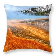 Fire And Ice - Grand Prismatic Spring On A Cloudy Day. Throw Pillow