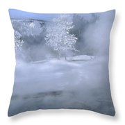 Fire And Ice II - Yellowstone Throw Pillow