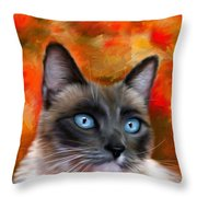 Fire And Ice - Siamese Cat Painting Throw Pillow