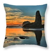 Fire At Low Tide Throw Pillow