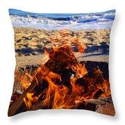 Fire At The Beach Throw Pillow