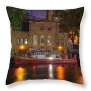 Fire Boat On Cuyahoga River Throw Pillow