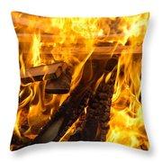 Fire - Burning Wood Throw Pillow