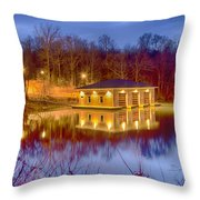 Fire Department Rescue Building On Water Throw Pillow