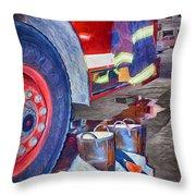 Fire Engine - Firemen - Equipment Throw Pillow