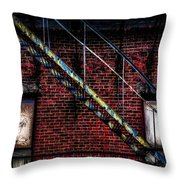 Fire Escape And Windows Throw Pillow
