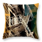 Fire Escapes In Blue And Gold Throw Pillow