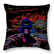 Fire Hydrant Bathed In Neon Throw Pillow