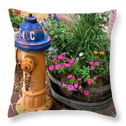 Fire Hydrant With Flowers Throw Pillow
