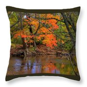 Fire In The Creek A1 - Owens Creek Near Loys Station Covered Bridge - Autumn Frederick County Md Throw Pillow