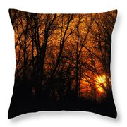 Fire In The Woods Sunset Throw Pillow