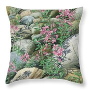 Fire On The Rocks Throw Pillow
