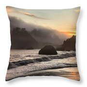 Fire Over The Sea Stacks Throw Pillow by Adam Jewell