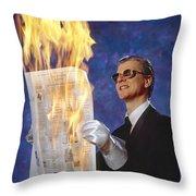 Fire Reader Throw Pillow
