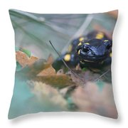 Fire Salamander Front View Throw Pillow
