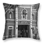 Fire Station Main Street Disneyland Bw Throw Pillow