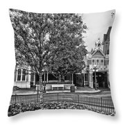 Fire Station Main Street In Black And White Walt Disney World Throw Pillow