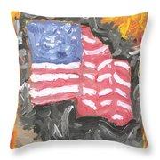Fire Storm Flag Throw Pillow