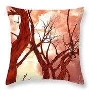 Fire Trees Throw Pillow