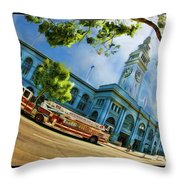 Fire Truck And Ferry Building Throw Pillow
