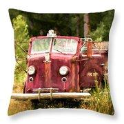 Fire Truck Digital Painted Throw Pillow