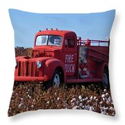Fire Truck In The Cotton Field Throw Pillow