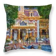 Fire Truck Main Street Disneyland Photo Art 02 Throw Pillow