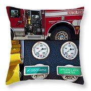 Fire Truck With Isolated Views Throw Pillow