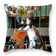 Firebird With Knight Throw Pillow