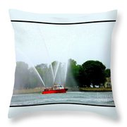 Fireboat Water Show On Long Island Sound Throw Pillow