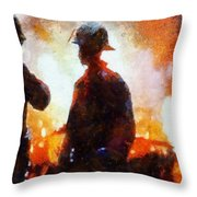 Firefighters At The Scene Throw Pillow