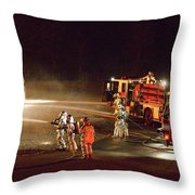 Firefighters At Work Throw Pillow