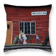 Train Station Mural Sultan Washington 3 Throw Pillow