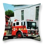 Fireman - Fire Engine In Front Of Fire Station Throw Pillow