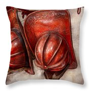 Fireman - Hat - Old Fashioned Fire Hats  Throw Pillow by Mike Savad