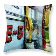 Fireman - Hose In Bucket On Fire Truck Throw Pillow